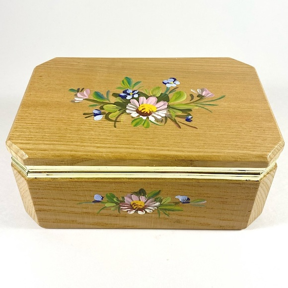 Hand painted floral wooden jewelry box